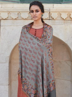 Cotton Embroidered Designer Salwar Kameez in Brown