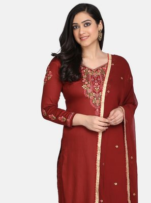 Cotton Embroidered Designer Straight Suit in Maroon