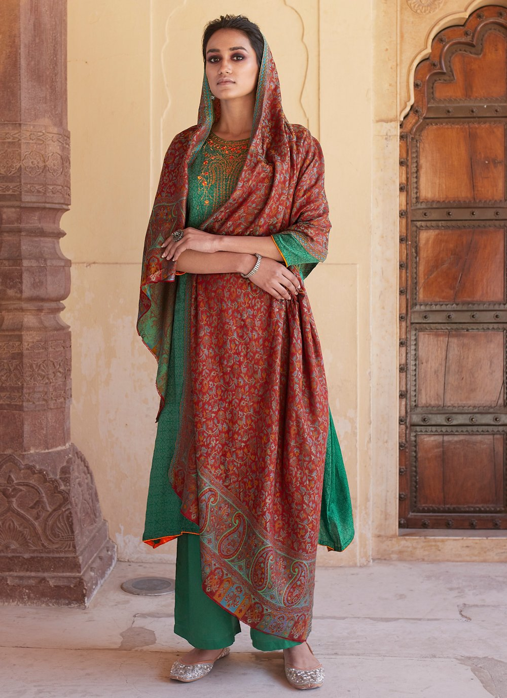 Cotton Embroidered Green Bollywood Salwar Kameez