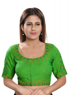 Cotton Embroidered Green Designer Blouse