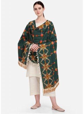 Cotton Embroidered Green Designer Dupatta