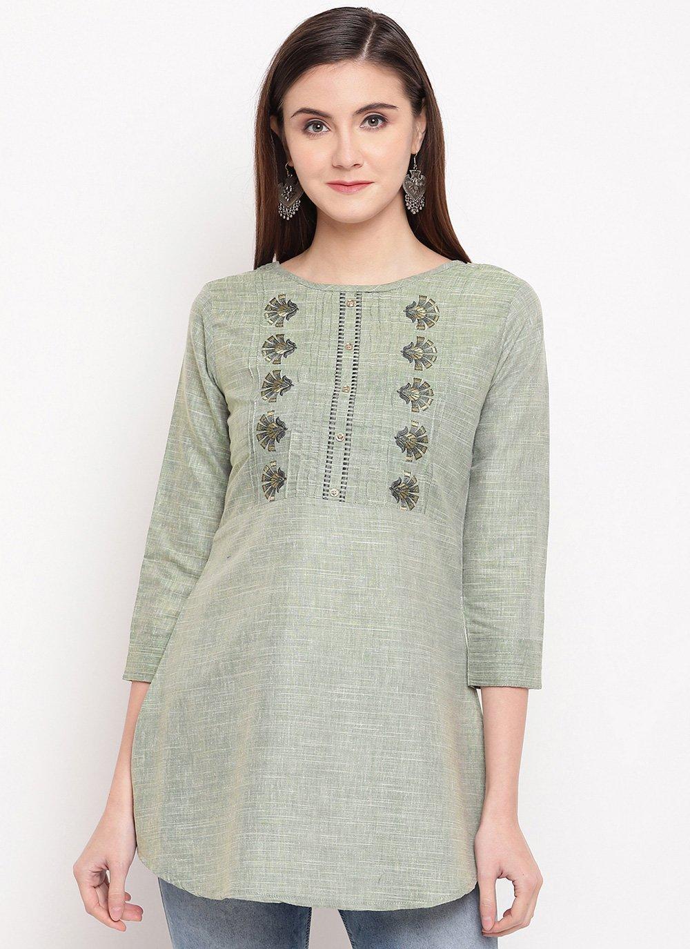 Cotton Embroidered Green Designer Kurti