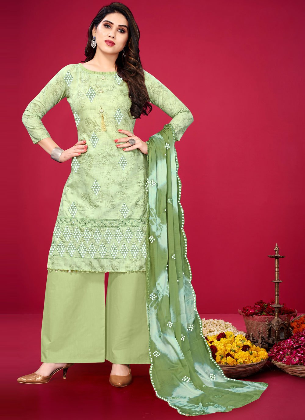 Cotton Embroidered Green Designer Palazzo Suit