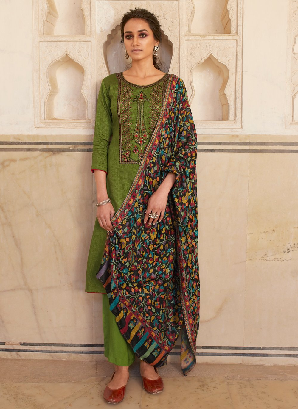 Cotton Embroidered Green Designer Salwar Kameez
