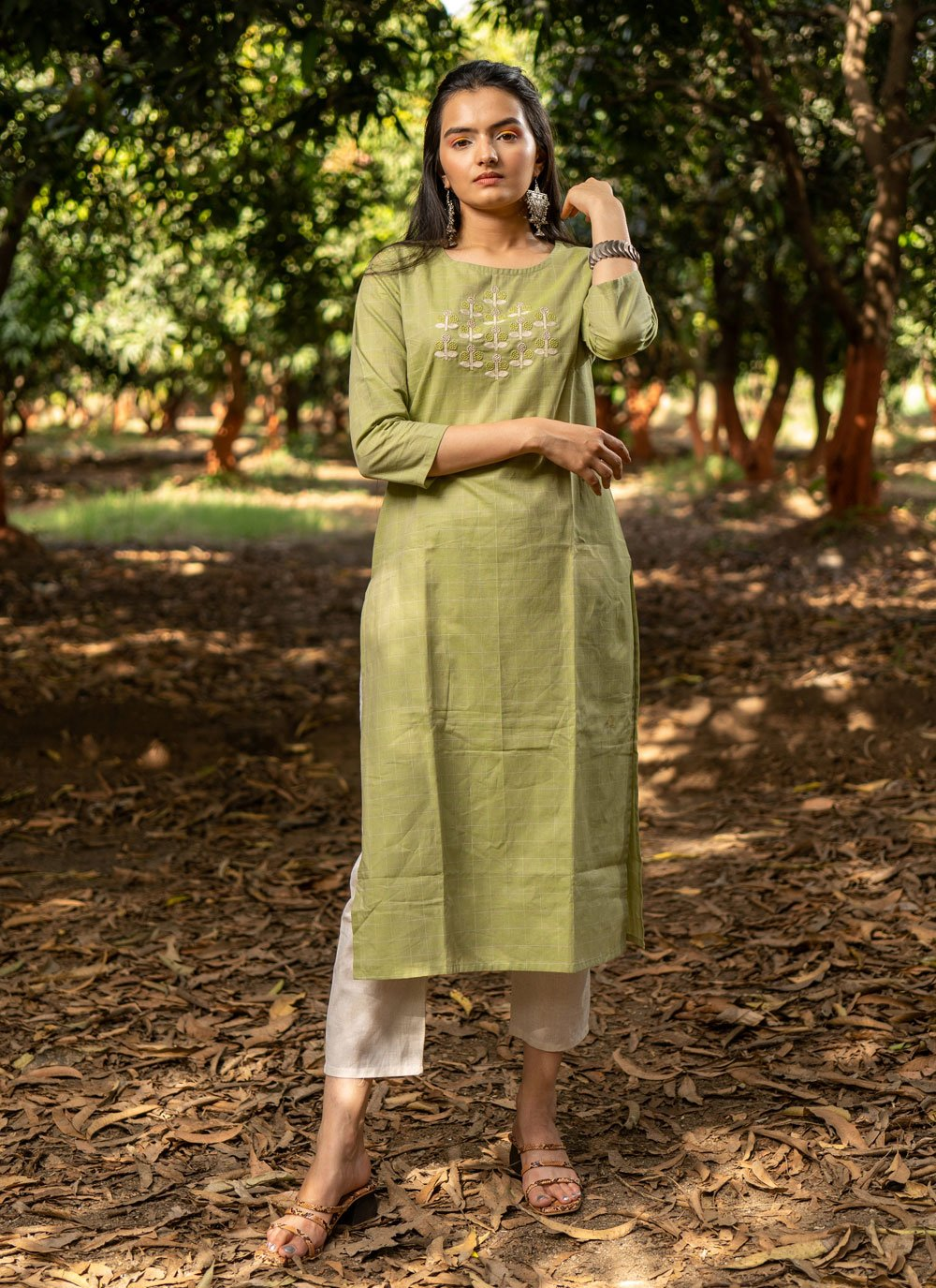 Cotton Embroidered Green Party Wear Kurti
