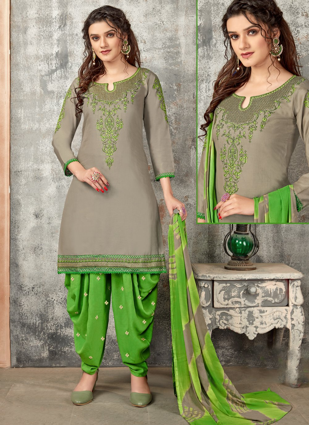 Cotton Embroidered Grey Designer Patiala Suit