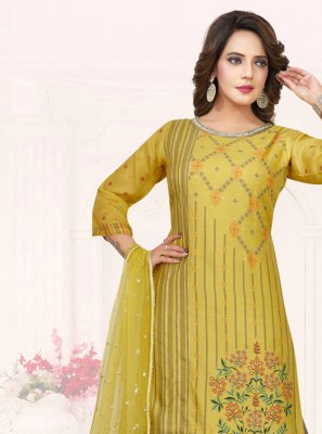 Cotton Embroidered Mustard Palazzo Salwar Kameez