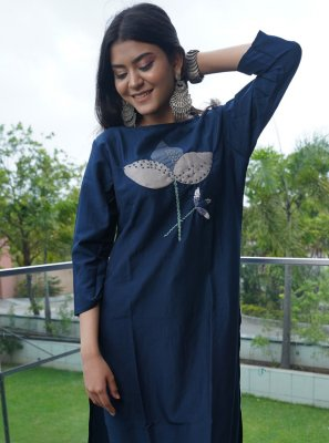 Cotton Embroidered Navy Blue Party Wear Kurti