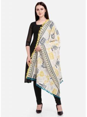 Cotton Embroidered Off White Designer Dupatta