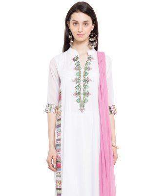 Cotton Embroidered Off White Readymade Salwar Kameez