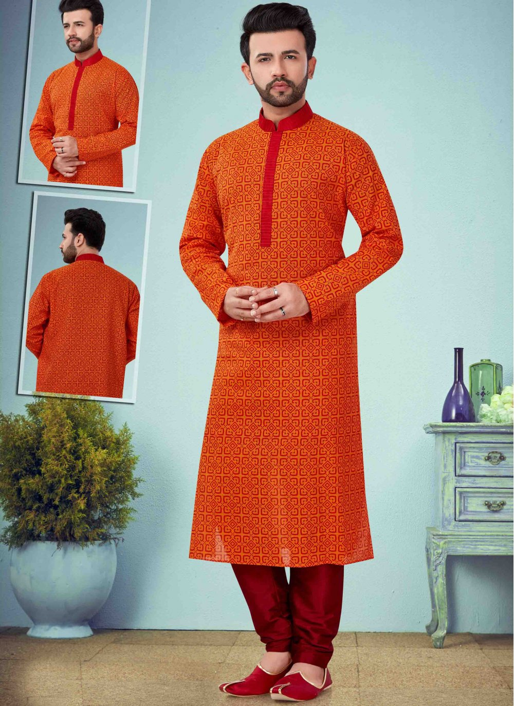 Cotton Embroidered Orange Kurta Pyjama