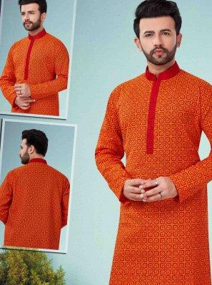 Cotton Embroidered Orange Kurta Pyjama