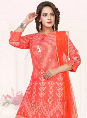 Cotton Embroidered Orange Palazzo Salwar Kameez
