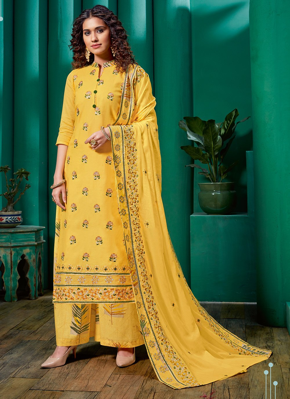 Cotton Embroidered Palazzo Salwar Kameez in Yellow