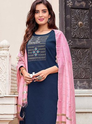 Cotton Embroidered Pant Style Suit in Blue