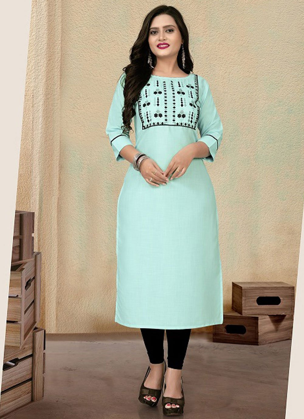 Cotton Embroidered Party Wear Kurti