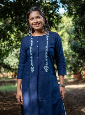 Cotton Embroidered Party Wear Kurti in Blue