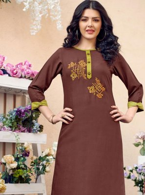 Cotton Embroidered Party Wear Kurti in Brown