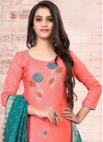 Cotton Embroidered Pink Pant Style Suit