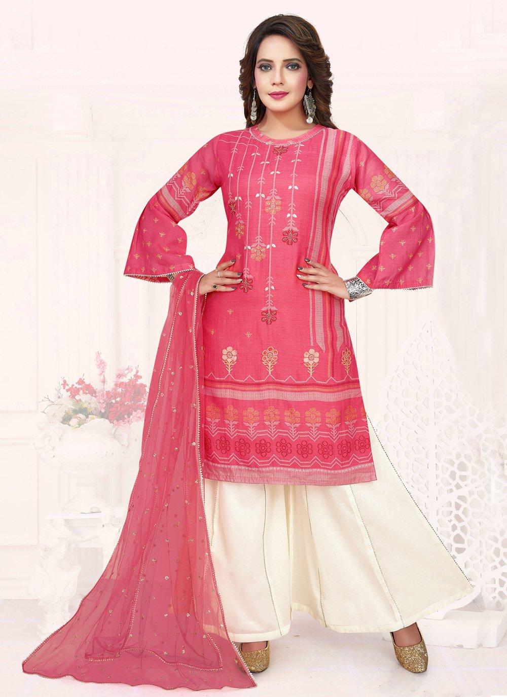 Cotton Embroidered Pink Trendy Salwar Kameez