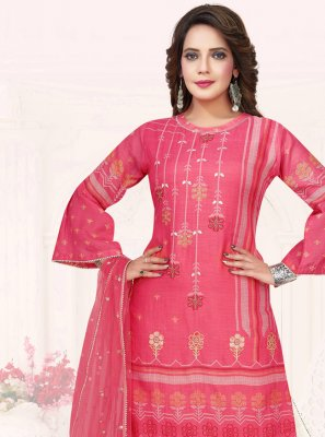 Cotton Embroidered Pink Trendy Salwar Kameez