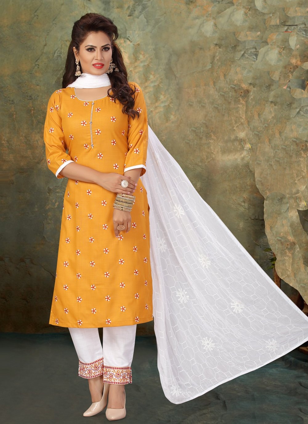 Cotton Embroidered Readymade Suit