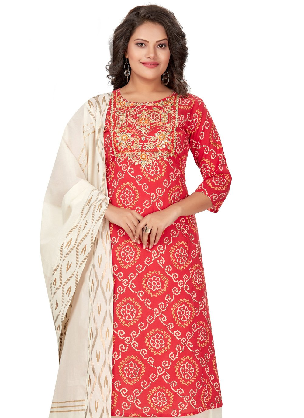 Cotton Embroidered Red Party Wear Kurti