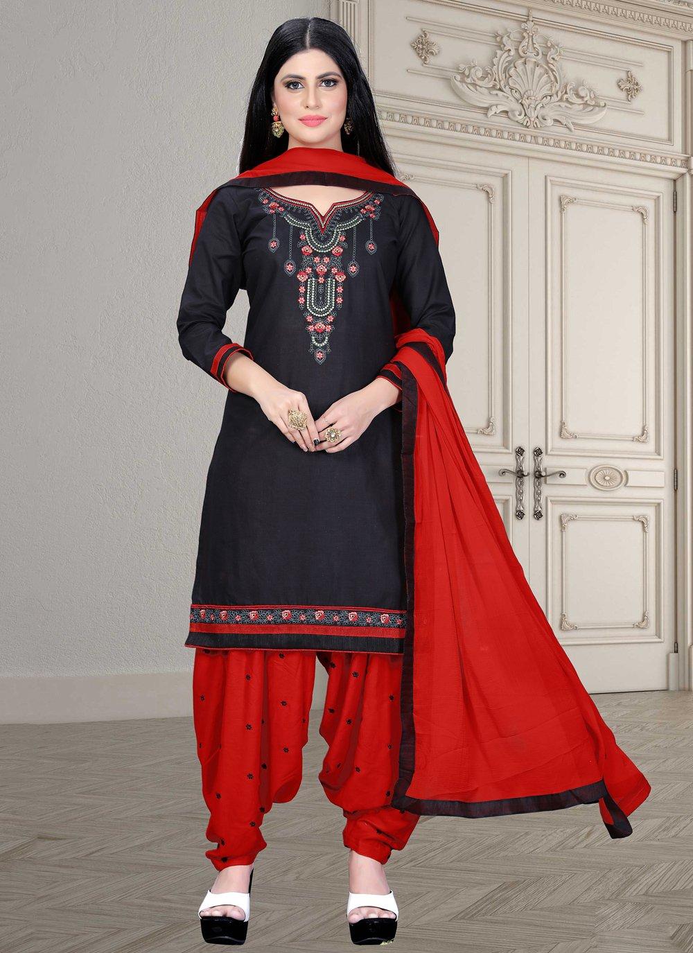 Cotton Embroidered Trendy Salwar Kameez in Black