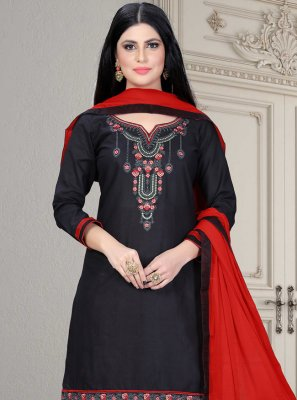 Cotton Embroidered Trendy Salwar Kameez in Black