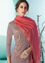 Cotton Embroidered Wine Pant Style Suit