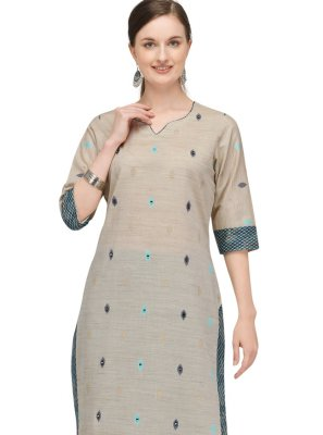 Cotton Fancy Designer Kurti in Beige