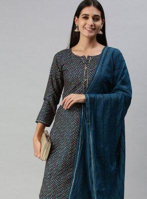 Cotton Fancy Designer Pakistani Suit in Blue