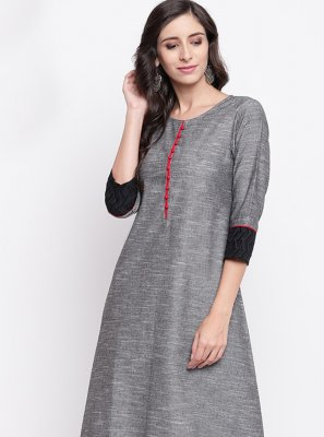 Cotton Fancy Grey Party Wear Kurti