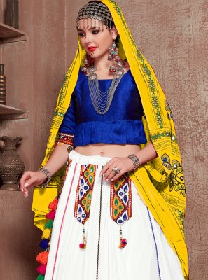 Cotton Fancy Lehenga Choli in Blue and Off White