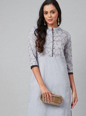 Cotton Fancy Party Wear Kurti in Blue