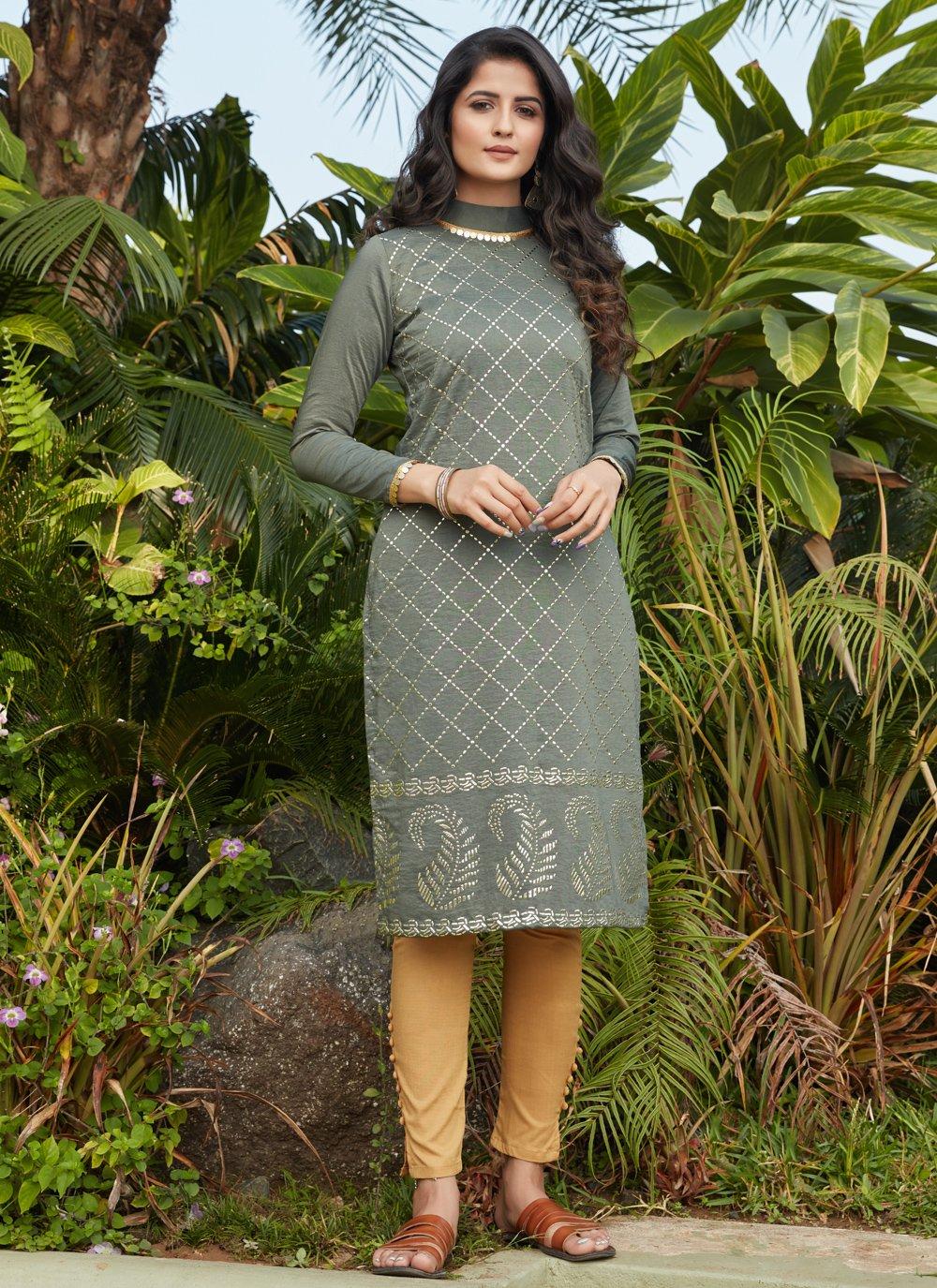 Cotton Fancy Party Wear Kurti in Green