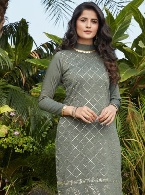 Cotton Fancy Party Wear Kurti in Green