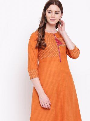 Cotton Fancy Party Wear Kurti in Orange