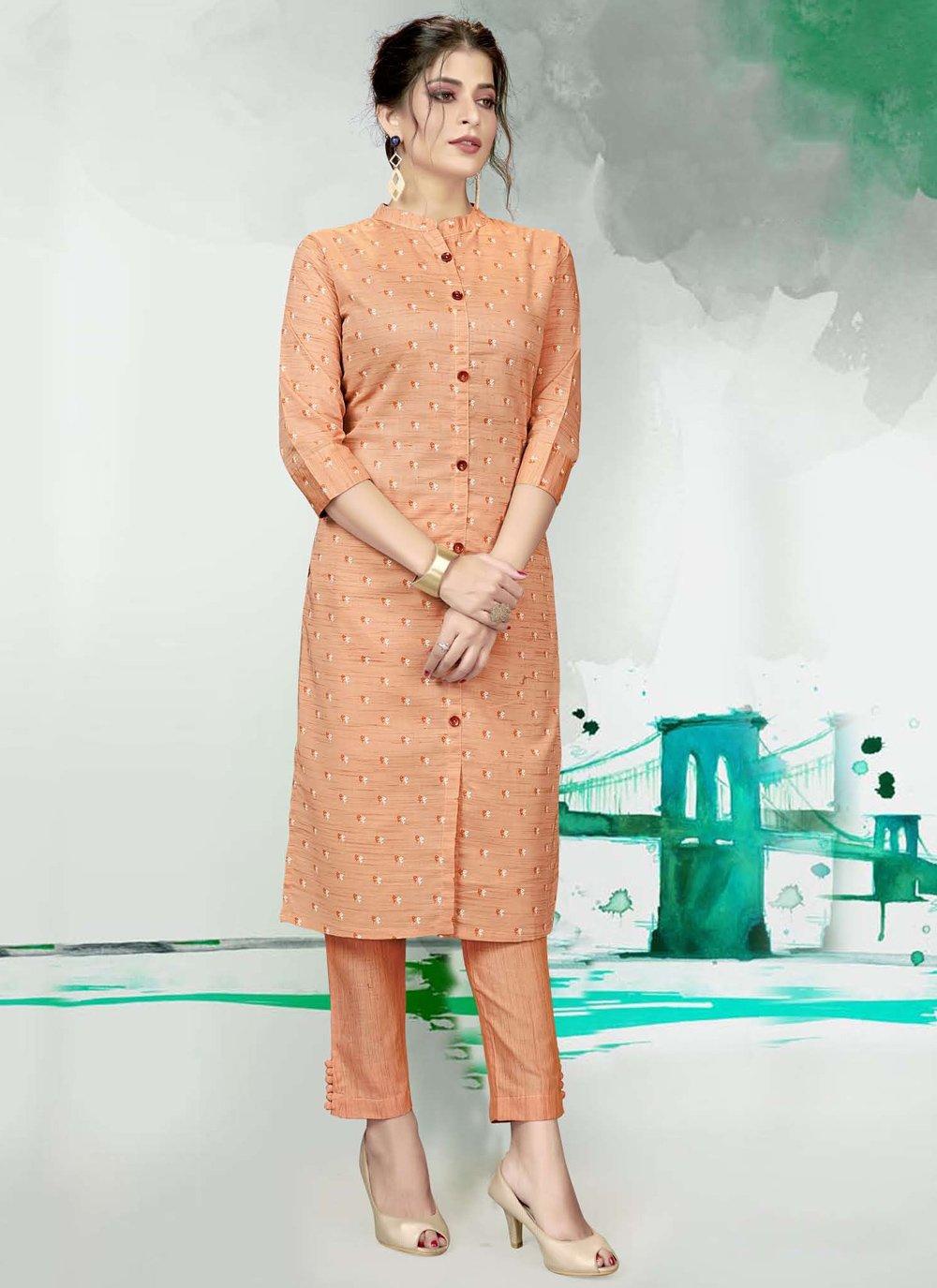 Cotton Fancy Peach Designer Kurti