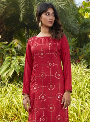 Cotton Fancy Red Party Wear Kurti