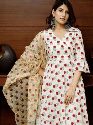 Cotton Fancy White Designer Suit
