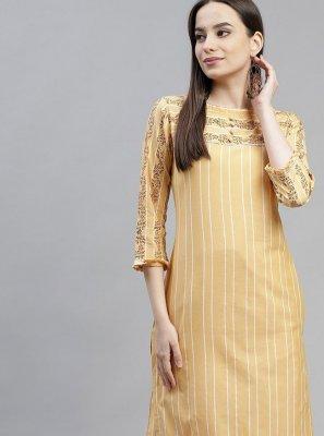 Cotton Fancy Yellow Party Wear Kurti