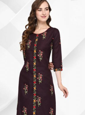 Cotton Floral Print Brown Party Wear Kurti