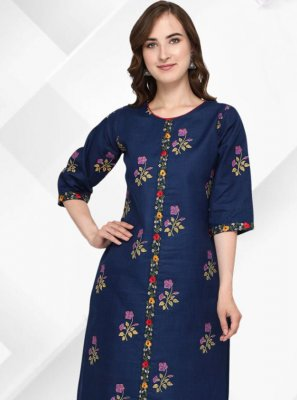 Cotton Floral Print Party Wear Kurti in Blue