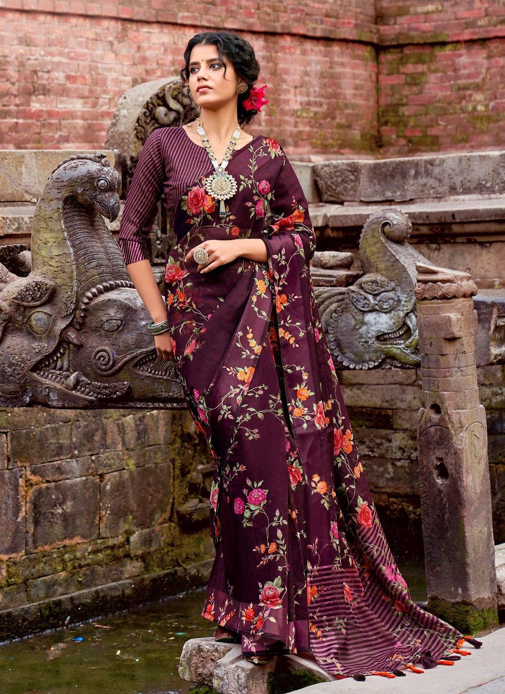 Cotton Floral Print Printed Saree