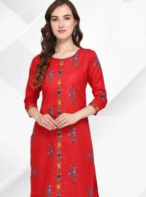 Cotton Floral Print Red Party Wear Kurti