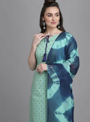 Cotton Foil Print Aqua Blue Readymade Suit
