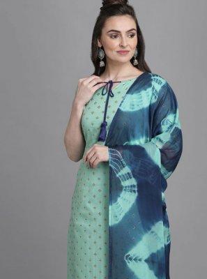 Cotton Foil Print Aqua Blue Readymade Suit