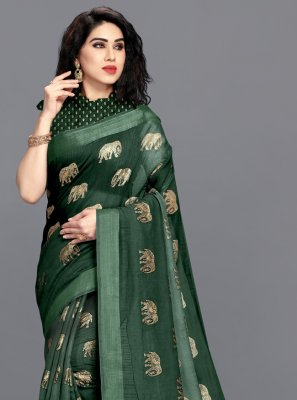 Cotton Foil Print Green Printed Saree