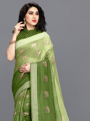 Cotton Foil Print Green Shaded Saree